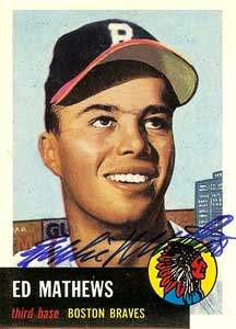 Eddie Mathews Autograph on a 1993 Topps Archive Baseball Card (#67)