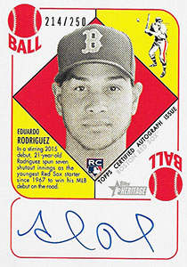 Eduardo Rodriguez Autograph on a 2015 Topps Heritage Baseball Card (#214 / 250)