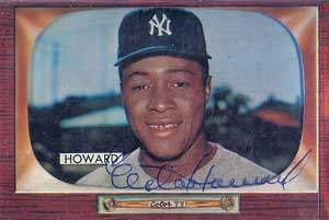 Elston Howard Autograph on a 1955 Bowman Baseball Card (#68 | <a href='../baseball_cards/baseball_cards_oneset.php?s=1955bow01' title='1955 Bowman Baseball Card Checklist'>Checklist</a>)