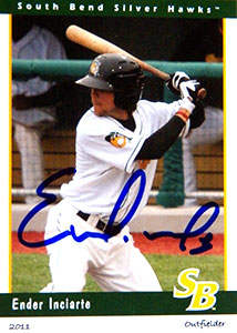 Ender Inciarte Autograph on a 2011 South Bend Silver Hawks Card