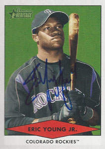 Eric Young Autograph on a 2007 Bowman Heritage (#BHP45)