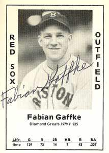 Fabian Gaffke Autograph on a 1979 Diamond Greats (#235)