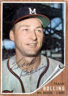 Frank Bolling Autograph on a 1962 Topps Baseball Card (#130 | <a href='../baseball_cards/baseball_cards_oneset.php?s=1962top01' title='1962 Topps Baseball Card Checklist'>Checklist</a>)