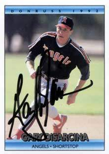 Gary DiSarcina Autograph on a 1992 Donruss (#497)