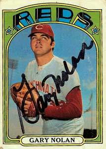 Gary Nolan Autograph on a 1972 Topps Baseball Card (#475 | <a href='../baseball_cards/baseball_cards_oneset.php?s=1972top01' title='1972 Topps Baseball Card Checklist'>Checklist</a>)