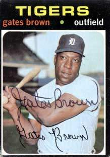 Gates 'The Gator' Brown Autograph on a 1971 Topps (#503 | <a href='../baseball_cards/baseball_cards_oneset.php?s=1971top01' title='1971 Topps Baseball Card Checklist'>Checklist</a>)