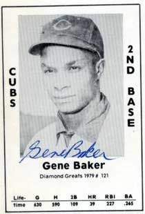 Gene Baker Autograph on a 1979 Diamond Greats (#121)