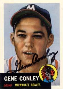 Gene 'Daddy Long Arms' Conley Autograph on a 1991 Topps Archives Baseball Card (#215 | <a href='../baseball_cards/baseball_cards_oneset.php?s=1991top05' title='1991 Topps Archives Baseball Card Checklist'>Checklist</a>)