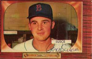 George Susce Autograph on a 1955 Bowman Baseball Card (#320 | <a href='../baseball_cards/baseball_cards_oneset.php?s=1955bow01' title='1955 Bowman Baseball Card Checklist'>Checklist</a>)
