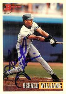 Gerald Williams Autograph on a 1993 Bowman (#271)