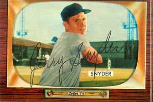 Jerry Snyder Autograph on a 1955 Bowman Baseball Card (#74 | <a href='../baseball_cards/baseball_cards_oneset.php?s=1955bow01' title='1955 Bowman Baseball Card Checklist'>Checklist</a>)