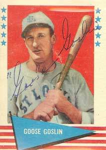 Goose Goslin Autograph on a 1961 Fleer Baseball Card (#35)