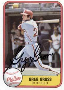 Greg Gross Autograph on a 1981 Fleer (#18)