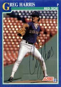Greg Harris Autograph on a 1991 Score Baseball Card (#109 | <a href='../baseball_cards/baseball_cards_oneset.php?s=1991sco01' title='1991 Score Baseball Card Checklist'>Checklist</a>)
