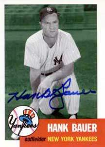 Hank Bauer Autograph on a 1991 Topps Archives Baseball Card (#290 | <a href='../baseball_cards/baseball_cards_oneset.php?s=1991top05' title='1991 Topps Archives Baseball Card Checklist'>Checklist</a>)