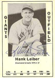 Hank Leiber Autograph on a 1979 Diamond Greats (#37)