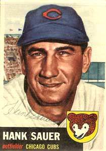 Hank Sauer Autograph on a 1954 Topps (#111)