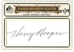 Harry Hooper Autograph on a 2009 Upper Deck Legendary Cuts (#LC-134)