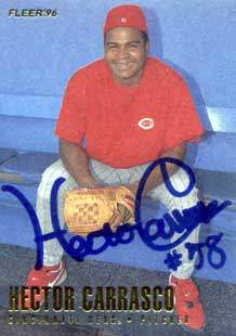 Hector Carrasco Autograph on a 1996 Fleer Baseball Card (#338)