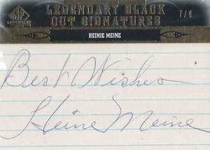Heinie Meine Autograph on a 2011 Upper Deck SP Legendary Cuts (#PIT-HM)