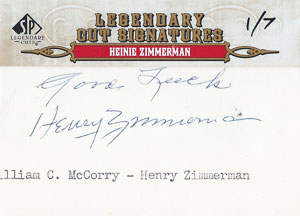 Heninie Zimmerman Autograph on a 2011 Upper Deck Legendary Cuts (#91)