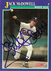 Jack McDowell Autograph on a 1991 Score Baseball Card (#27 | <a href='../baseball_cards/baseball_cards_oneset.php?s=1991sco01' title='1991 Score Baseball Card Checklist'>Checklist</a>)