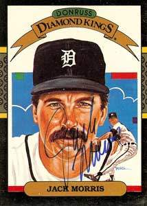 Jack Morris Autograph on a 1986 Donruss Diamond Kings Baseball Card (#13 | <a href='../baseball_cards/baseball_cards_oneset.php?s=1986don01' title='1986 Donruss Baseball Card Checklist'>Checklist</a>)