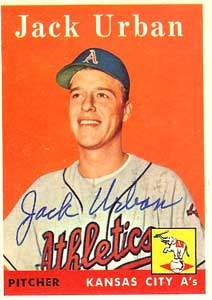 Jack Urban Autograph on a 1958 Topps Baseball Card (#367 | <a href='../baseball_cards/baseball_cards_oneset.php?s=1958top01' title='1958 Topps Baseball Card Checklist'>Checklist</a>)