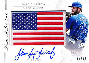 Jake 'The Snake' Arrieta Autograph on a 2015 National Treasures Baseball Card (#88/99)
