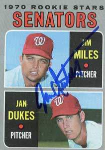 Jan Dukes Autograph on a 1971 Topps (#154)
