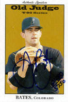 Jason Bates Autograph on a 1995 Signature Rookies Old Judge Baseball Card (#5)