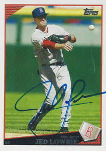 Jed Lowrie Autograph on a 2009 Topps Baseball Card (#BOS10)