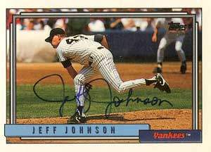 Jeff Johnson Autograph on a 1992 Topps (#449)