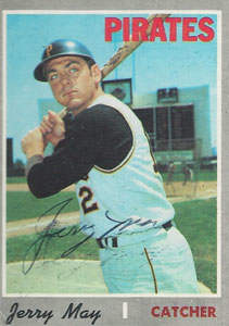 Jerry May Autograph on a 1970 Topps Baseball Card (#423 | <a href='../baseball_cards/baseball_cards_oneset.php?s=1970top01' title='1970 Topps Baseball Card Checklist'>Checklist</a>)