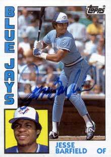 Jesse Barfield Autograph on a 1984 Topps Baseball Card (#488)