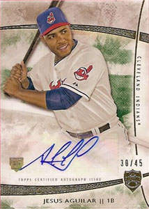 Jesus Aguilar Autograph on a 2014 Topps Supreme Autographs Green (#SAJAG)