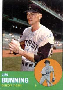 Jim Bunning Autograph on a 1963 Topps Baseball Card (#365 | <a href='../baseball_cards/baseball_cards_oneset.php?s=1963top01' title='1963 Topps Baseball Card Checklist'>Checklist</a>)
