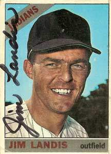 Jim Landis Autograph on a 1966 Topps Baseball Card (#128 | <a href='../baseball_cards/baseball_cards_oneset.php?s=1966top01' title='1966 Topps Baseball Card Checklist'>Checklist</a>)