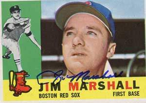 Jim Marshall Autograph on a 1960 Topps Baseball Card (#267 | <a href='../baseball_cards/baseball_cards_oneset.php?s=1960top01' title='1960 Topps Baseball Card Checklist'>Checklist</a>)