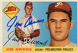 Jim Owens Autograph on a 1955 Topps (#202)