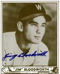 Jimmy Bloodworth Autograph on a 1940 Play Ball Reprint (#189 | <a href='../baseball_cards/baseball_cards_oneset.php?s=1940pla02' title='1940 Play Ball Reprint Baseball Card Checklist'>Checklist</a>)