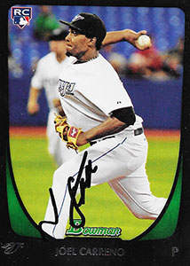Joel Carreno Autograph on a 2011 Bowman Baseball Card (#71)
