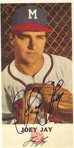 Joey Jay Autograph on a 1954 Johnston Cookies Reprint (#47)