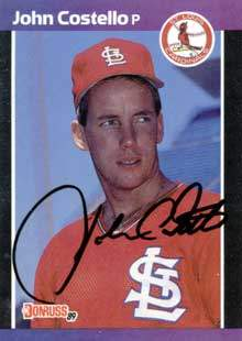 John Costello Autograph on a 1989 Donruss Baseball Card (#518 | <a href='../baseball_cards/baseball_cards_oneset.php?s=1989don01' title='1989 Donruss Baseball Card Checklist'>Checklist</a>)