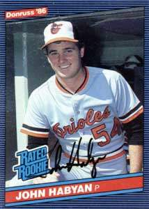 John Habyan Autograph on a 1986 Donruss Baseball Card (#45 | <a href='../baseball_cards/baseball_cards_oneset.php?s=1986don01' title='1986 Donruss Baseball Card Checklist'>Checklist</a>)