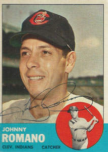 Johnny 'Honey' Romano Autograph on a 1963 Topps Baseball Card (#72 | <a href='../baseball_cards/baseball_cards_oneset.php?s=1963top01' title='1963 Topps Baseball Card Checklist'>Checklist</a>)