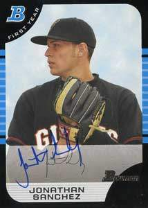 Jonathan Sanchez Autograph on a 2005 Bowman (#268)