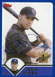 Jorge Piedra Autograph on a 2003 Topps (#T190)