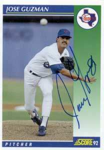 Jose Guzman Autograph on a 1992 Score Baseball Card (#502)