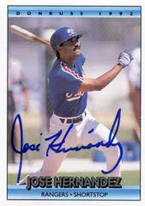 Jose Hernandez Autograph on a 1992 Donruss (#530)